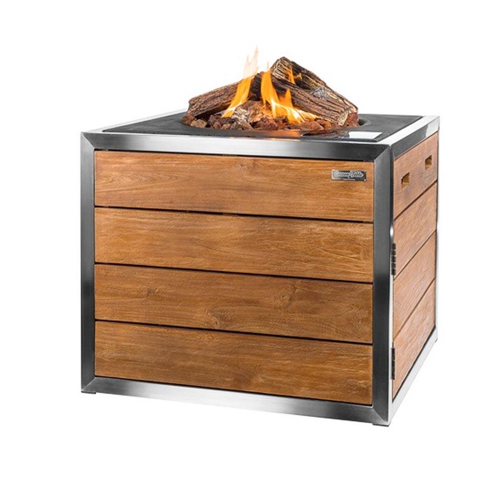 Lounge & Dining Feuertisch, quadratisch mit Edelstahl-Rahmen